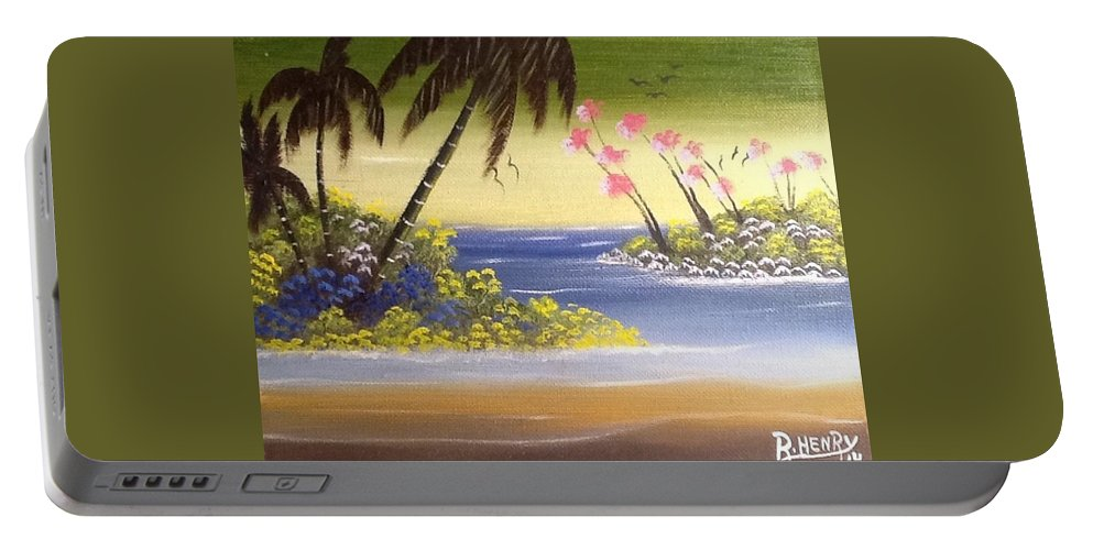 Portable Battery Charger featuring the painting Seescape by Reginald Henry