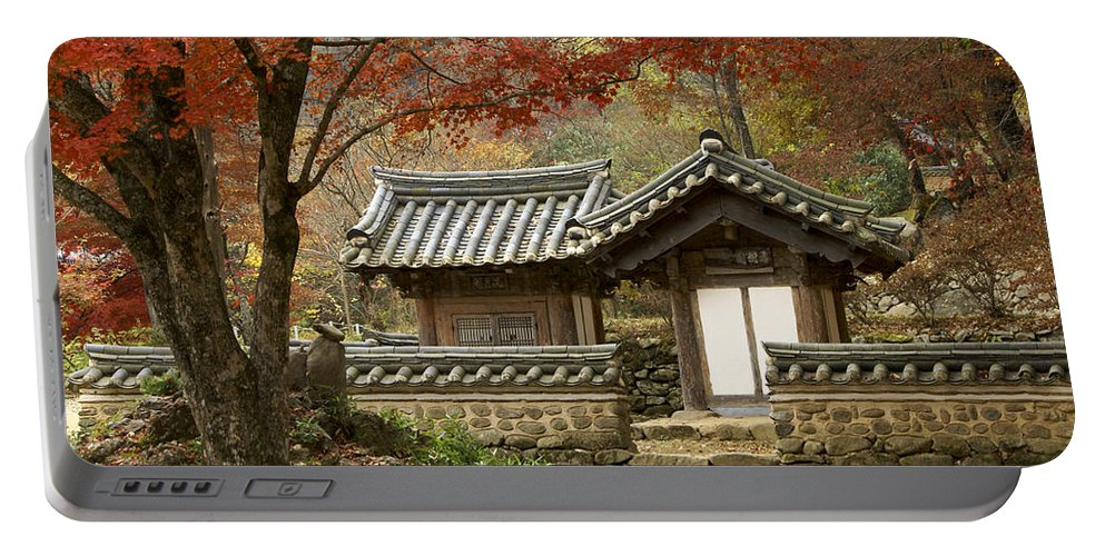 Korea Portable Battery Charger featuring the photograph Seonamsa In Autumn by Michele Burgess