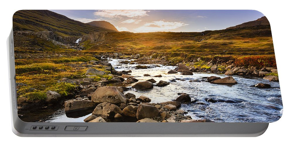 Eastern Portable Battery Charger featuring the photograph Seydisfjordur Fjord Valley by Alexey Stiop