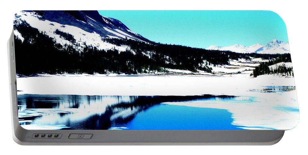 Landscape Portable Battery Charger featuring the photograph Shiny Snow Magic On Lake by Kumiko Mayer