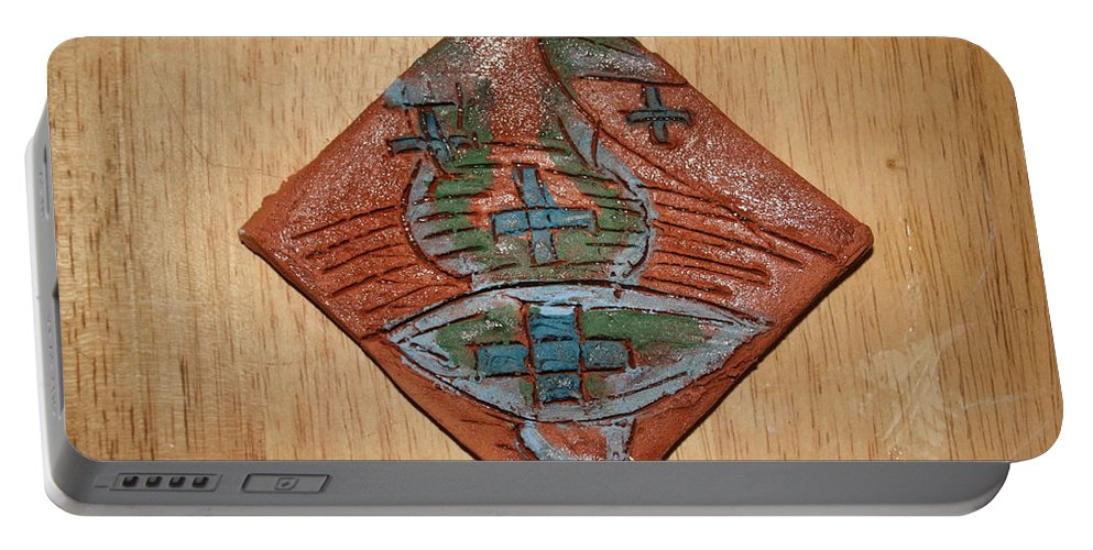 Jesus Portable Battery Charger featuring the ceramic art Silence - Tile by Gloria Ssali