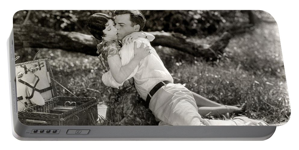 -picnic- Portable Battery Charger featuring the photograph Silent Film Still: Picnic by Granger