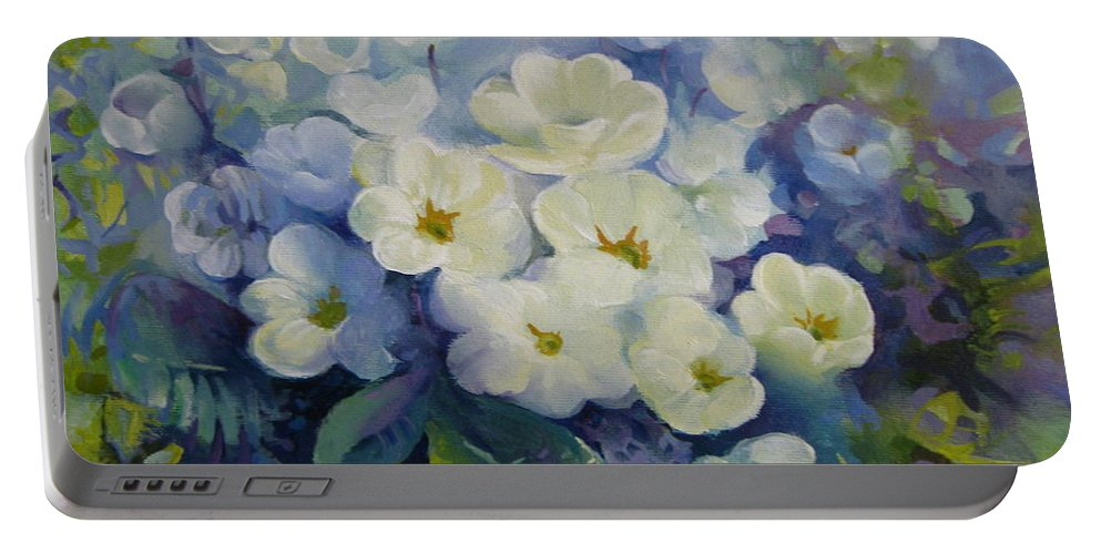 Primrose Portable Battery Charger featuring the painting Spring by Elena Oleniuc
