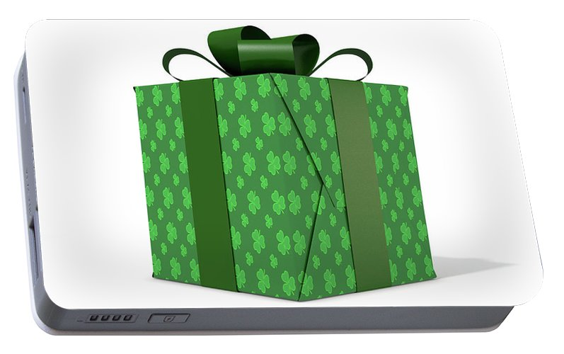 Present Portable Battery Charger featuring the digital art St Patricks Day Cube Gift by Allan Swart