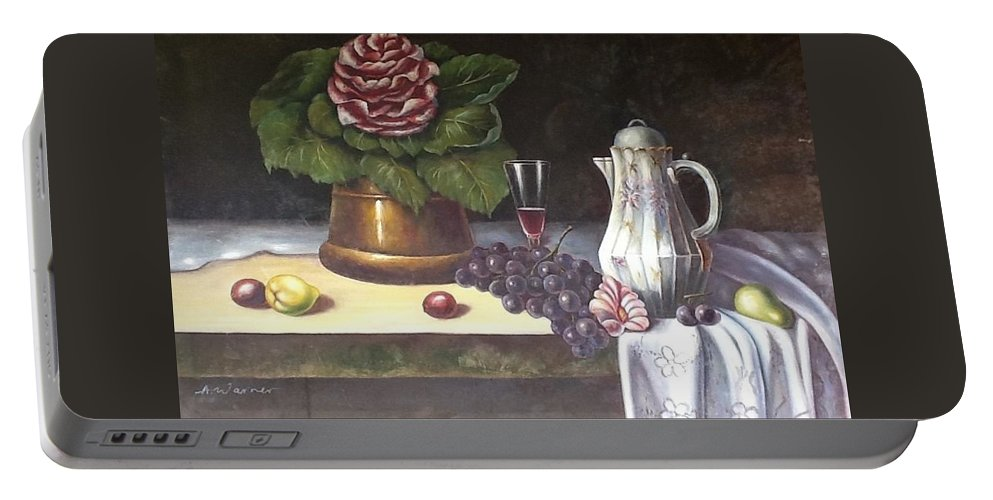 Flower Pot Portable Battery Charger featuring the painting Still Life by Reginald Henry