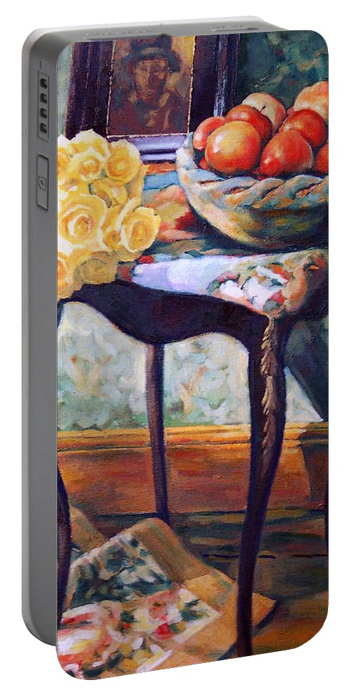 Still Life Portable Battery Charger featuring the painting Still Life With Roses by Iliyan Bozhanov