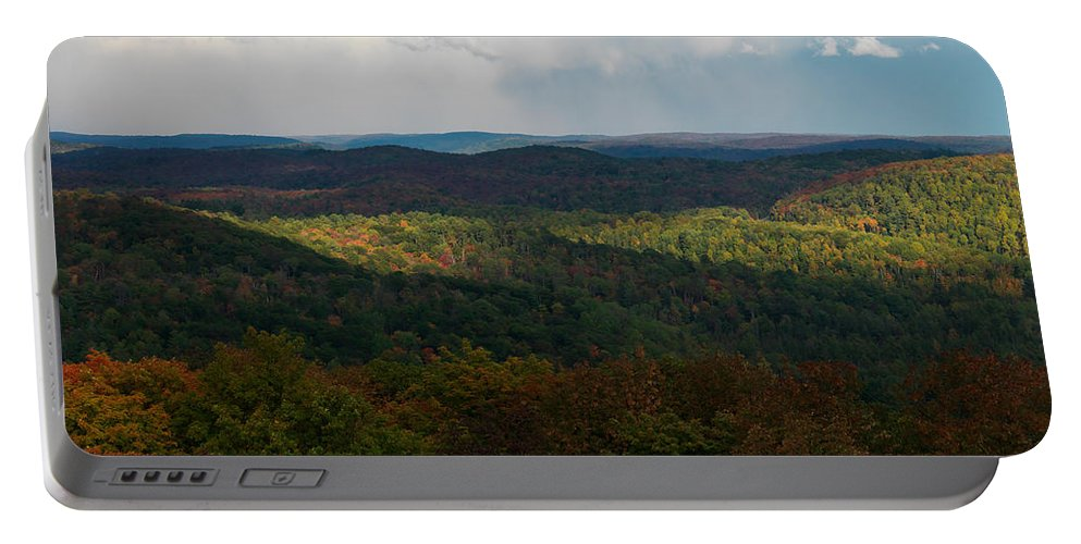 Autumn Portable Battery Charger featuring the photograph Storm Clouds Over Fall Nature Scenery by Oleksiy Maksymenko