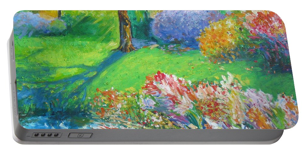 Water Portable Battery Charger featuring the painting Summer by Guanyu Shi