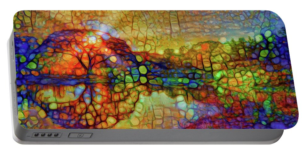 Light Through The Tree Portable Battery Charger featuring the mixed media Sunset Light by Lilia D