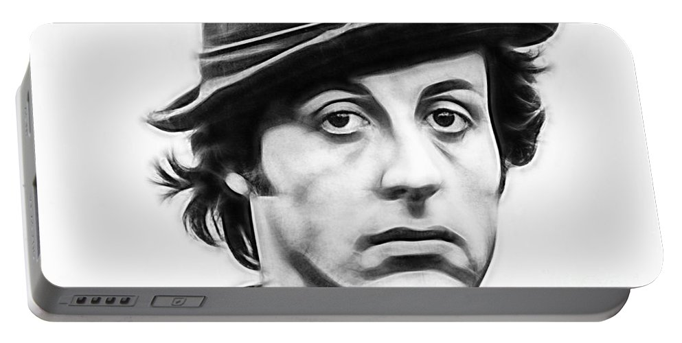 Sylvester Stallone Portable Battery Charger featuring the mixed media Sylvester Stallone Collection by Marvin Blaine