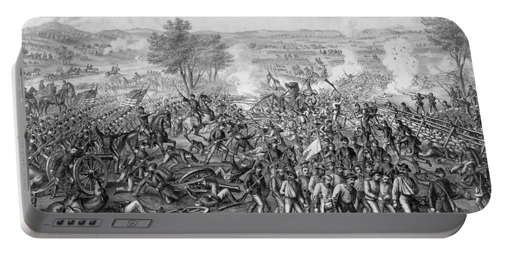 Civil War Portable Battery Charger featuring the mixed media The Battle Of Gettysburg by War Is Hell Store