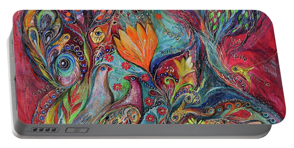 Original Portable Battery Charger featuring the painting The Magic Garden by Elena Kotliarker