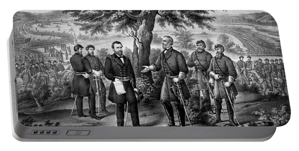General Grant Portable Battery Charger featuring the mixed media The Surrender Of General Lee by War Is Hell Store