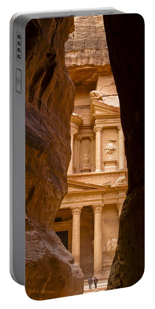 Middle East Portable Battery Charger featuring the photograph The Treasury Of Petra by Michele Burgess
