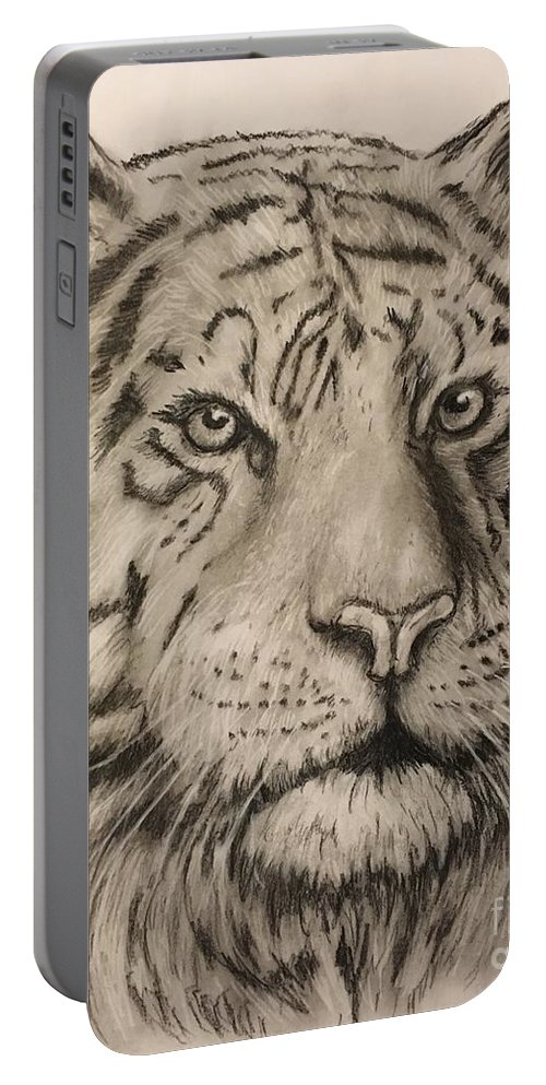 Tiger Art. Jungle Art. Jungle Cat. Wildlife Art Portable Battery Charger featuring the drawing Tiger by Robert Polley