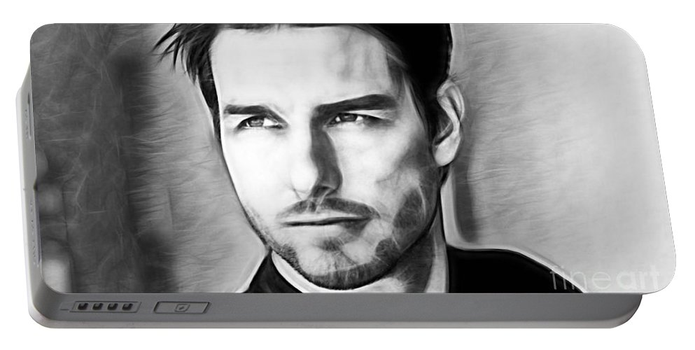 Tom Cruise Portable Battery Charger featuring the mixed media Tom Cruise Collection by Marvin Blaine