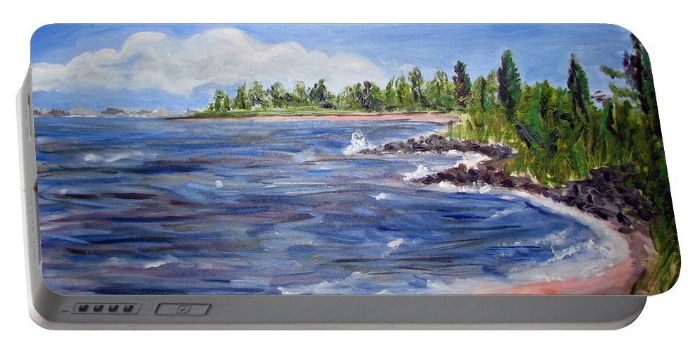 Barnegat Bay Portable Battery Charger featuring the painting Trixies Cove by Clara Sue Beym