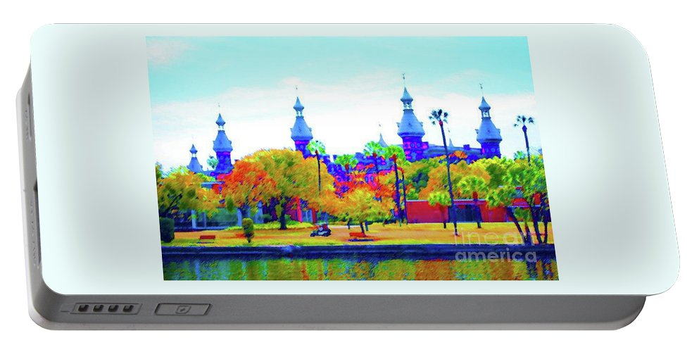 University Portable Battery Charger featuring the painting University Of Tampa by Jost Houk