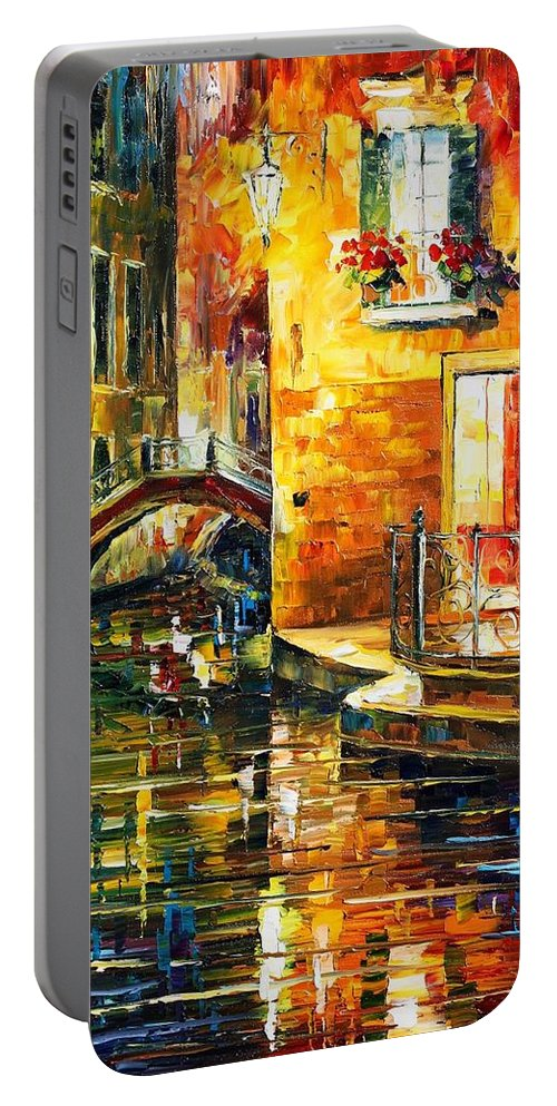 Afremov Portable Battery Charger featuring the painting Venice by Leonid Afremov