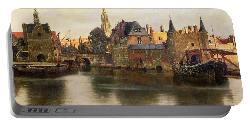 View Portable Battery Charger featuring the painting View Of Delft by Jan Vermeer