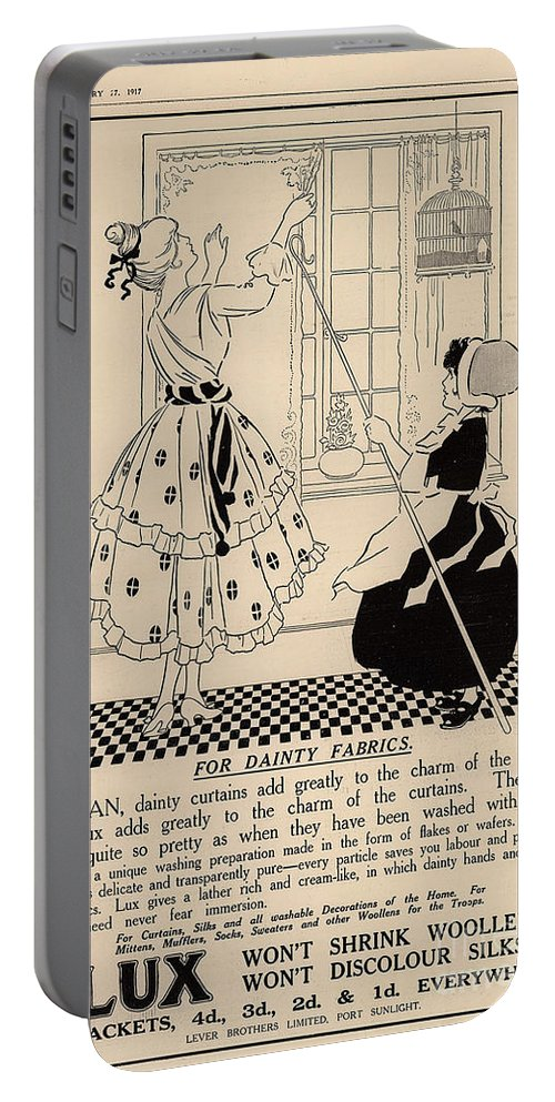 Ephemera Portable Battery Charger featuring the digital art Clean Dainty Curtains Vintage Soap Ad by Anne Kitzman