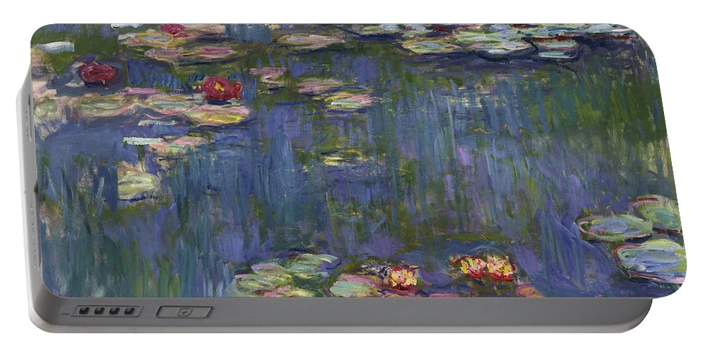 Monet Portable Battery Charger featuring the painting Water Lilies, 1916 by Claude Monet