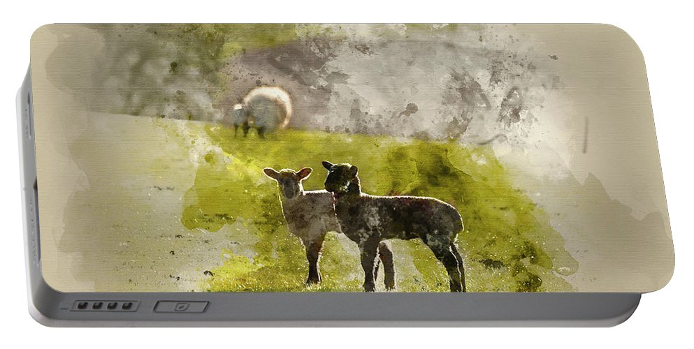 Landscape Portable Battery Charger featuring the photograph Watercolor Painting Of Beauitful Landscape Image Of Newborn Spri by Matthew Gibson