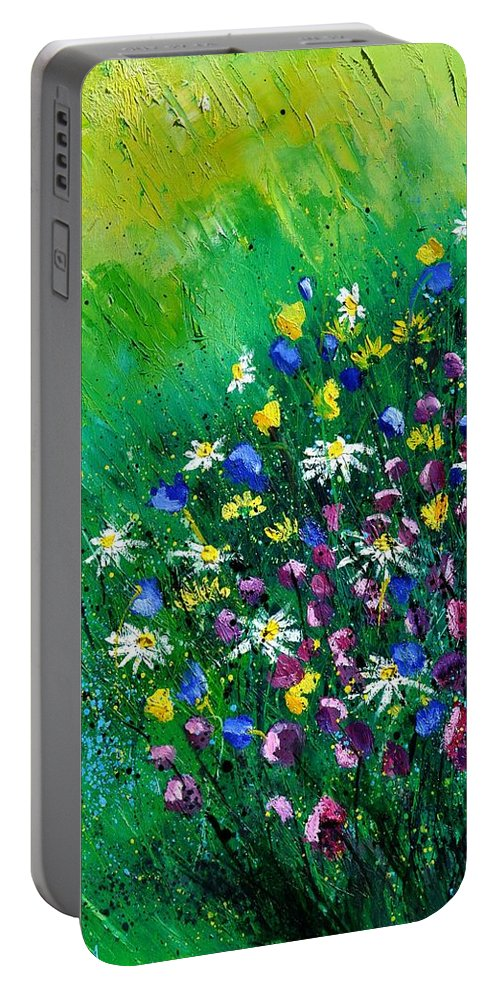 Flowers Portable Battery Charger featuring the painting Wild Flowers by Pol Ledent