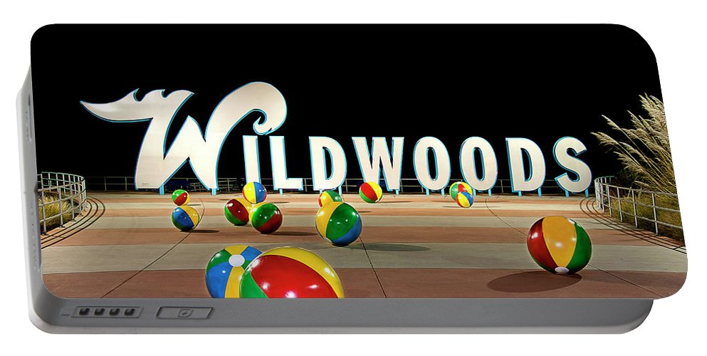 Wildwood's Sign Portable Battery Charger featuring the photograph Wildwood's Sign At Night On The Boardwalk by Retro Views