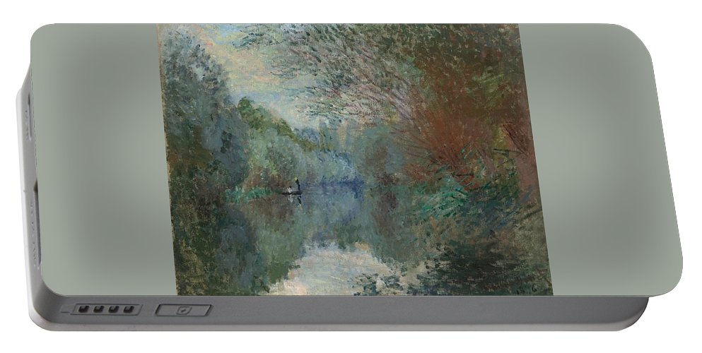 Claude Monet (1840-1926) Portable Battery Charger featuring the painting Willows At The Edge Of The Yerres by Claude Monet