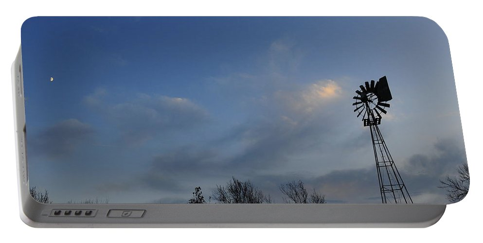 Moon Portable Battery Charger featuring the photograph Windmill At Dusk by David Arment