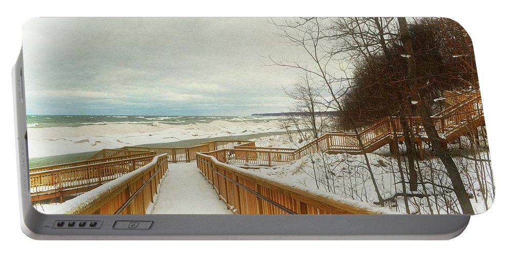 Stairs Portable Battery Charger featuring the photograph Winter Ice On Lake Michigan by Michelle Calkins