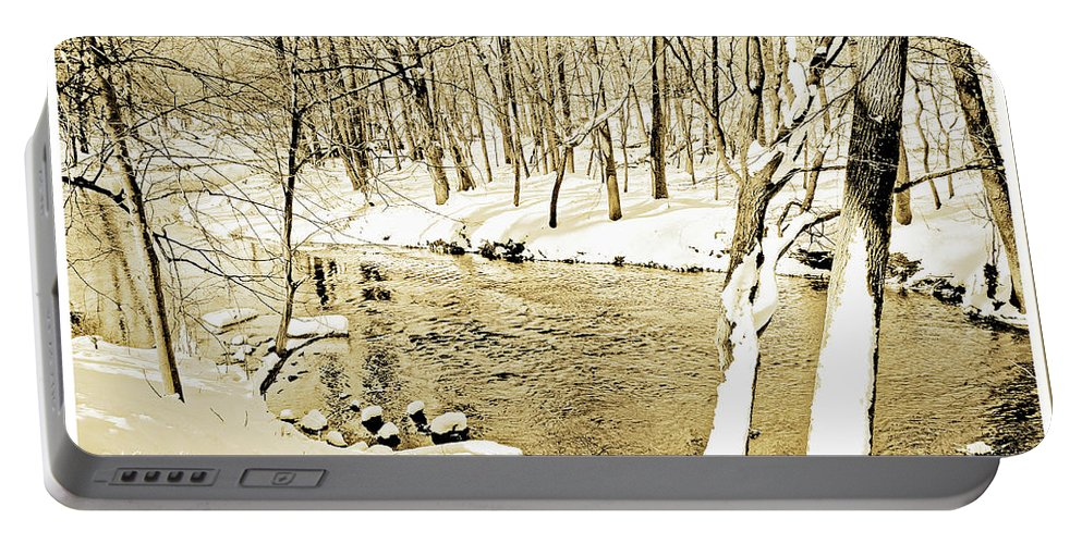 Sepia Tone Portable Battery Charger featuring the photograph Winter On A Pennsylvania Stream by A Gurmankin