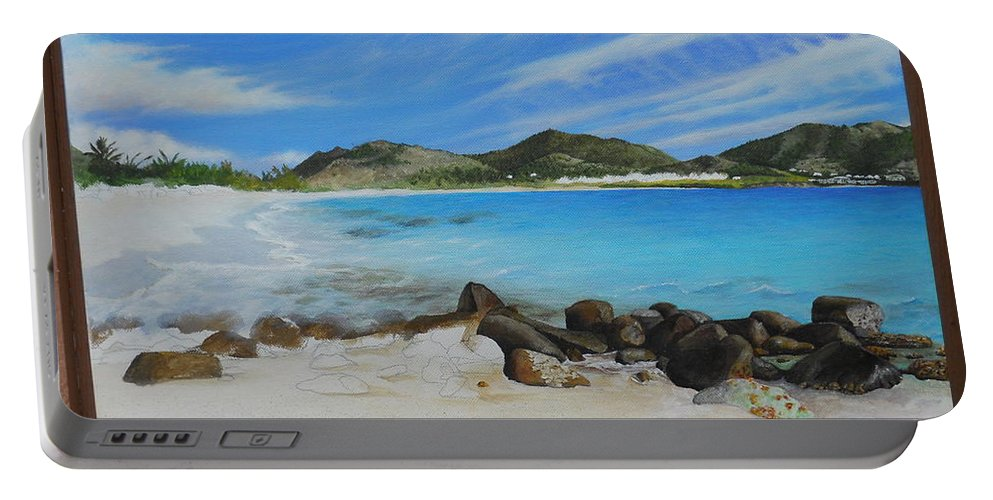 Portable Battery Charger featuring the painting Wip- Orient Beach by Cindy D Chinn