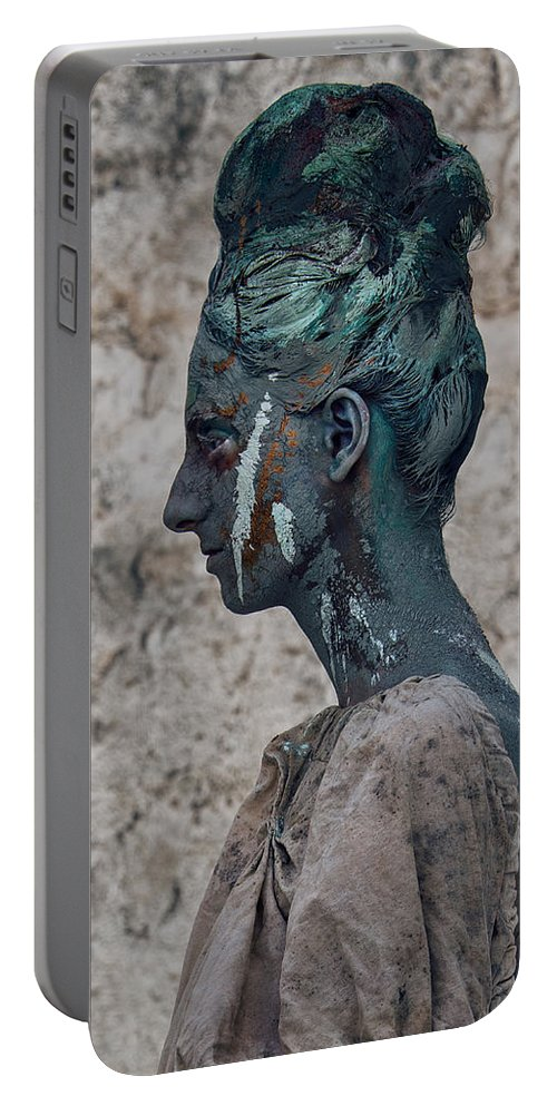Antik Portable Battery Charger featuring the photograph Woman In Bronze Statue Look With Patina Body Paint by Veronica Azaryan