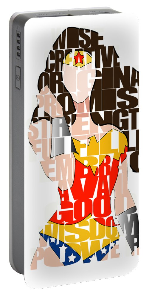 Wonder Woman Portable Battery Charger featuring the mixed media Wonder Woman Inspirational Power and Strength Through Words by Marvin Blaine