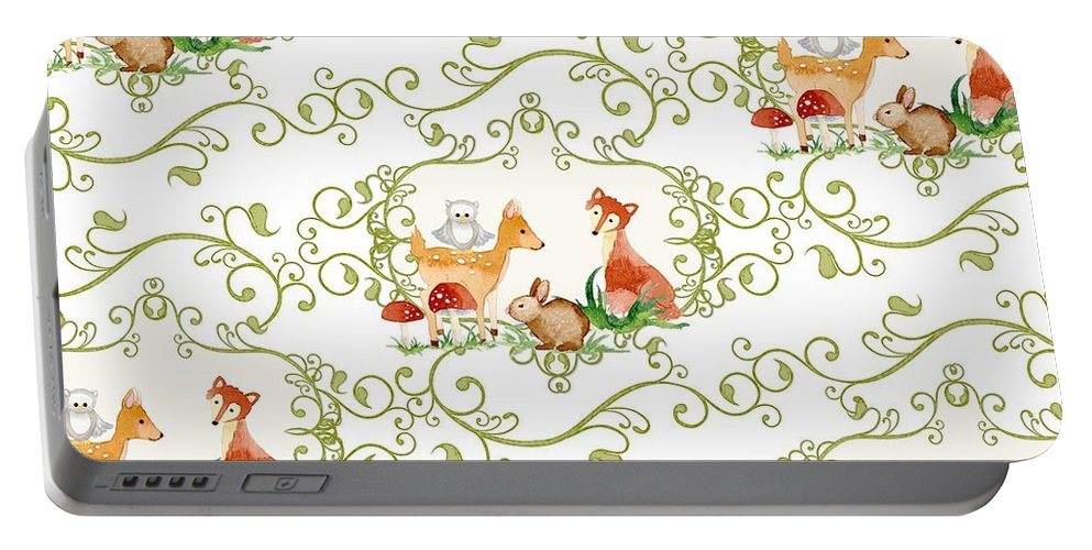 Woodchuck Portable Battery Charger featuring the painting Woodland Fairytale - Animals Deer Owl Fox Bunny N Mushrooms by Audrey Jeanne Roberts