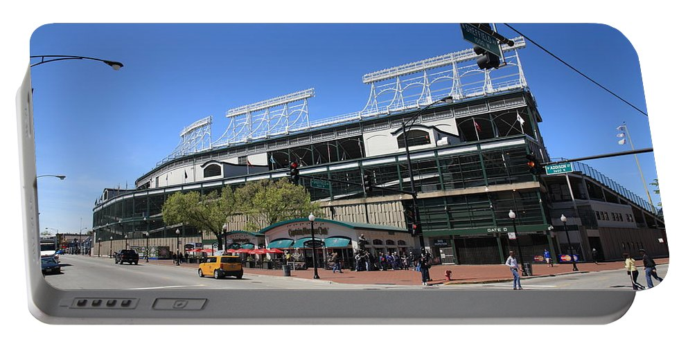 Addison Portable Battery Charger featuring the photograph Wrigley Field - Chicago Cubs by Frank Romeo