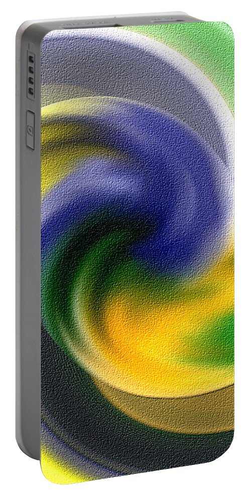 Tornado Portable Battery Charger featuring the digital art Abstract by Galeria Trompiz