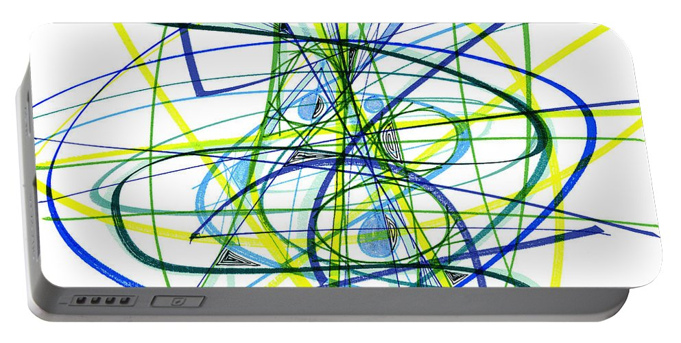 Abstract Portable Battery Charger featuring the drawing 2007 Abstract Drawing 5 by Lynne Taetzsch