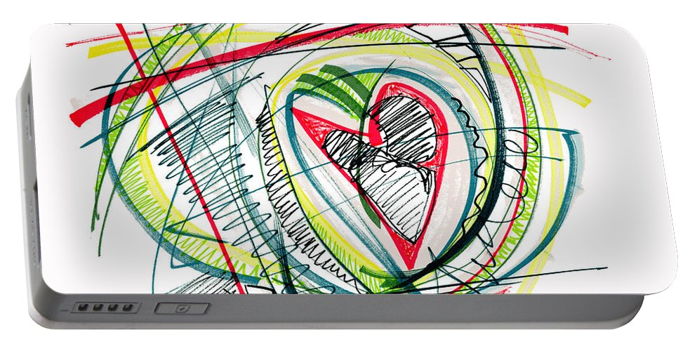 Abstract Art Portable Battery Charger featuring the drawing 2010 Abstract Drawing Eighteen by Lynne Taetzsch