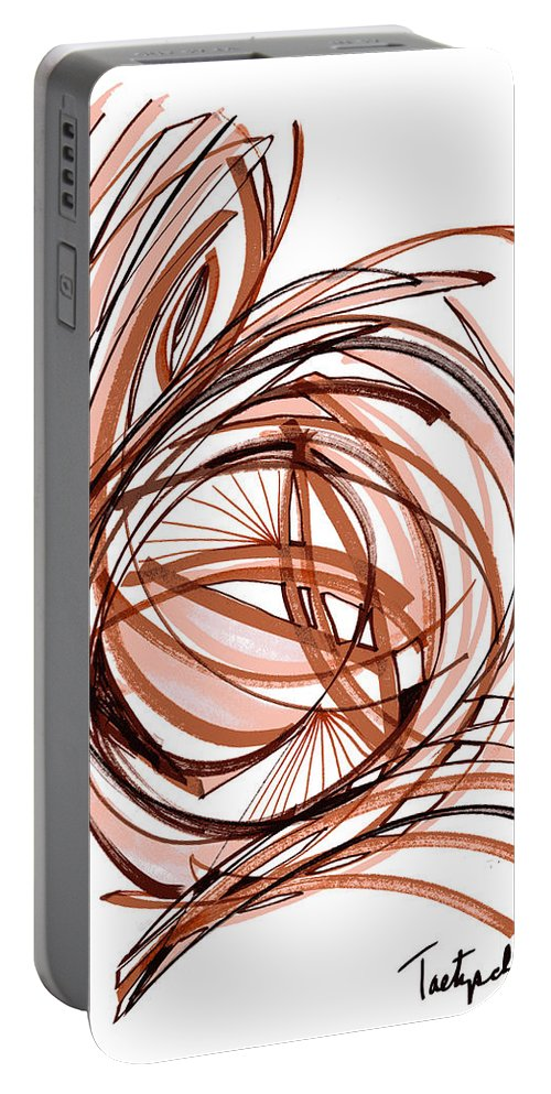 Abstract Art Portable Battery Charger featuring the drawing 2010 Abstract Drawing Six by Lynne Taetzsch