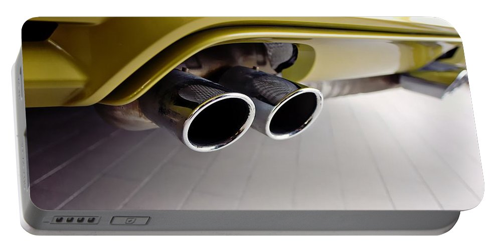 2015 Bmw M4 Portable Battery Charger featuring the photograph 2015 Bmw M4 Exhaust by Aaron Berg