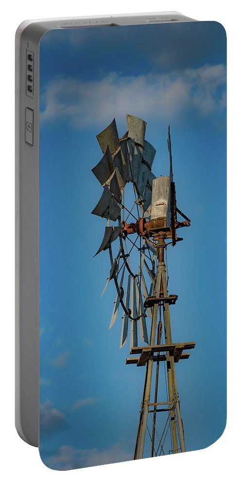 West Texas Portable Battery Charger featuring the photograph 2017_08_midland Tx_windmill 8 by Brian Farmer