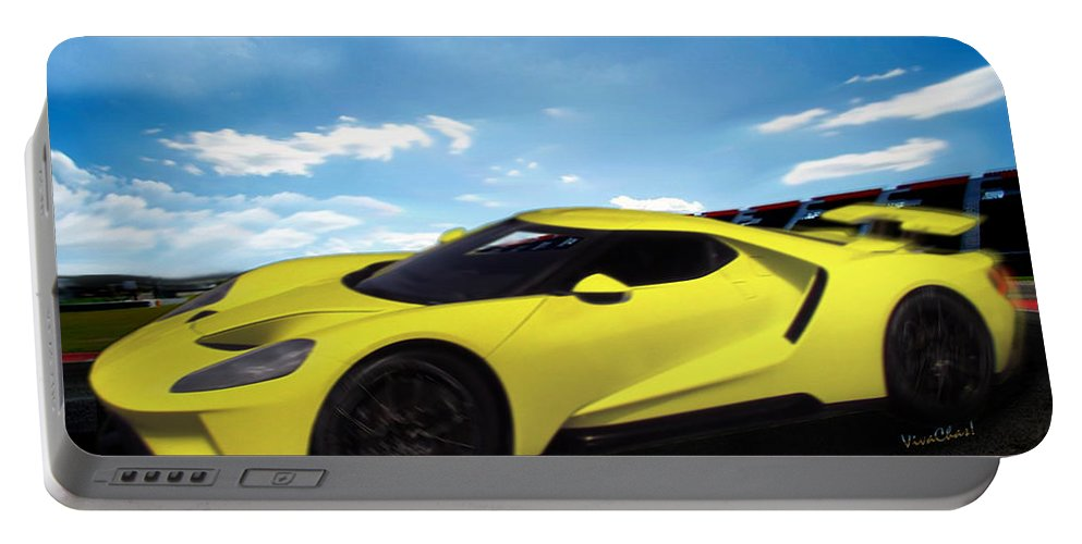 2018 Portable Battery Charger featuring the digital art 2018 Ford Gt At The Track by Chas Sinklier