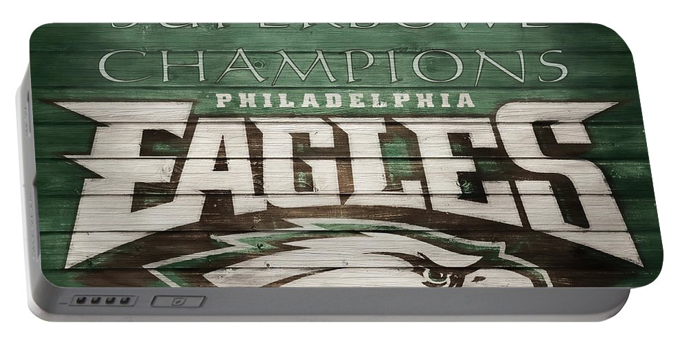 Philadelphia Eagles Barn Door Portable Battery Charger featuring the mixed media 2018 Superbowl Eagles Barn Wall by Dan Sproul