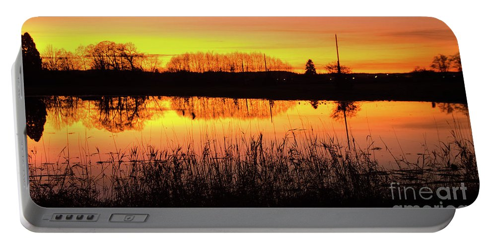 Reflection Portable Battery Charger featuring the photograph 2018_2_12 Vivid Sunset Reflection-4291 by Roger Patterson
