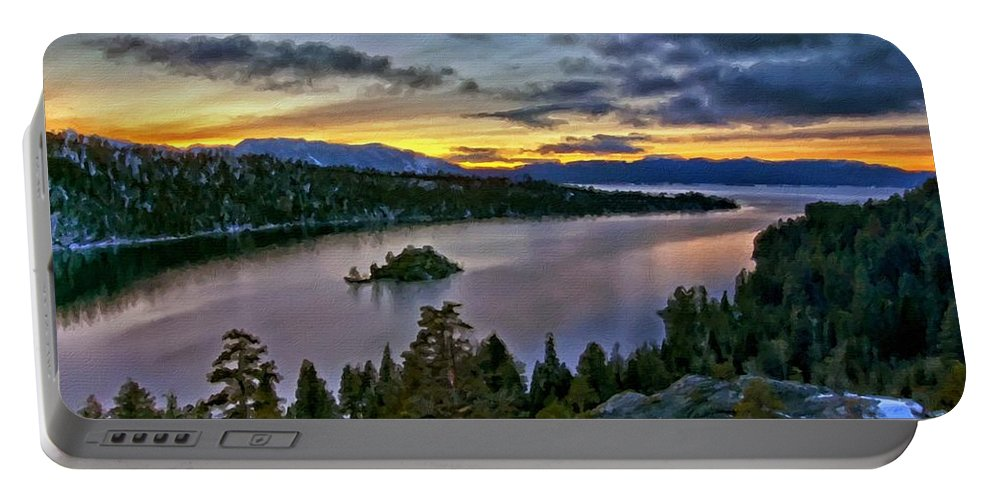 Landscape Portable Battery Charger featuring the digital art P W Landscape by Malinda Spaulding