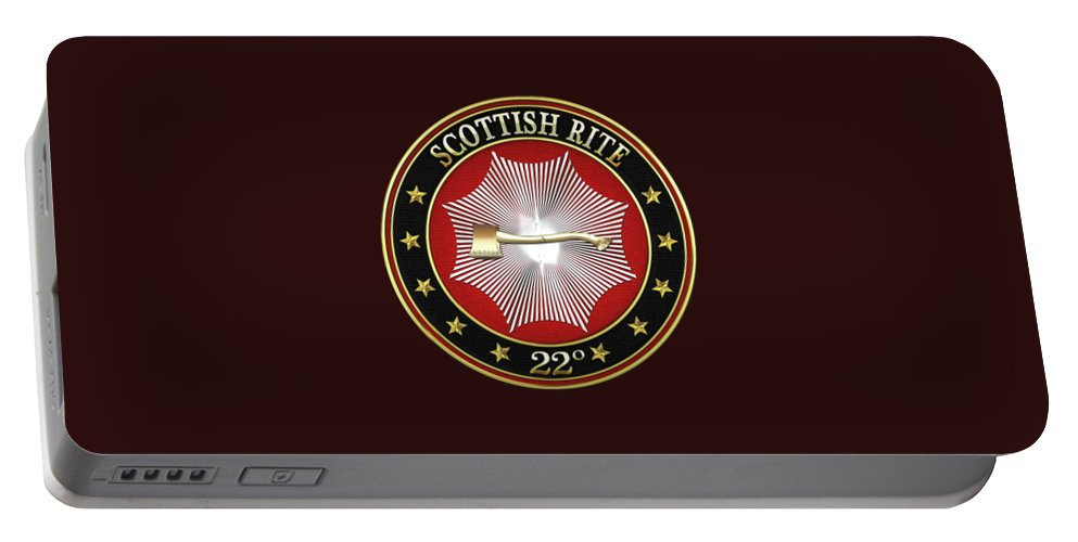 'scottish Rite' Collection By Serge Averbukh Portable Battery Charger featuring the digital art 22nd Degree - Knight Of The Royal Axe Jewel On Black Leather by Serge Averbukh