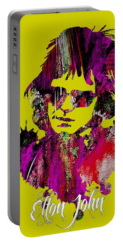 Elton John Portable Battery Charger featuring the mixed media Elton John Collection by Marvin Blaine